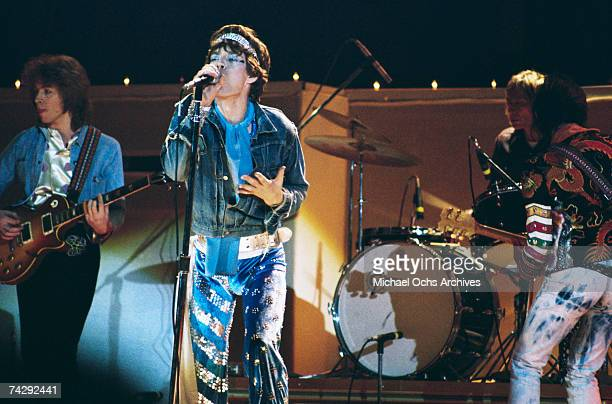 Rock and roll band 'The Rolling Stones' perform onstage at a benefit concert for Nicaraguan earthquake victims at the Forum on January 18 1973 in...