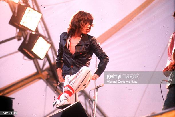 Rock and roll band 'The Rolling Stones' performs onstage during their 'Tour Of The Americas' at Arrowhead Stadium on June 6 1975 in Kansas City...