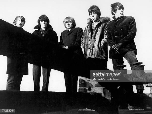 Rock and roll band 'The Rolling Stones' pose for a portrait in 1965 Charlie Watts Bill Wyman Brian Jones Mick Jagger Keith Richards