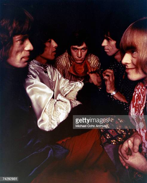 Rock and roll band 'The Rolling Stones' pose for a portrait in 1967 Mick Jagger Bill Wyman Charlie Watts Keith Richards Brian Jones