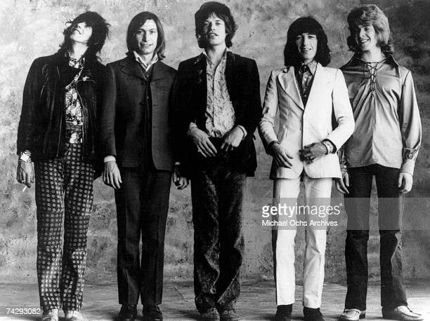 Rock and roll band 'The Rolling Stones' pose for a portrait in circa 1972 Keith Richards Charlie Watts Mick Jagger Bill Wyman Mick Taylor