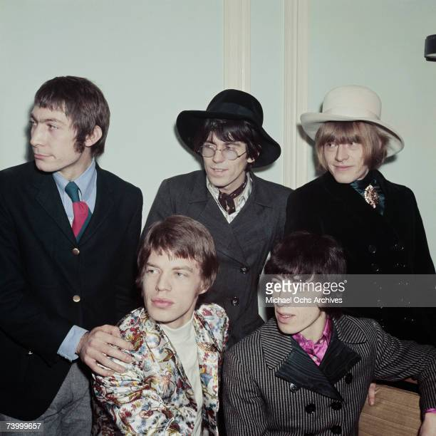 Rock and roll band 'The Rolling Stones' pose for a portrait on January 11 1967 in London England LR Mick Jagger Bill Wyman LR Charlie Watts Keith...