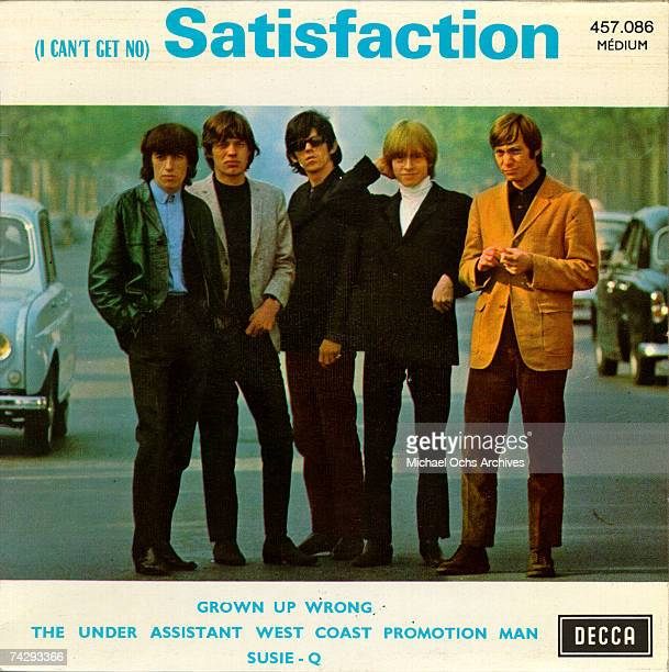 Rock and roll band 'The Rolling Stones' pose for a portrait on their 'Satisfaction' album cover which was released on June 6 1965
