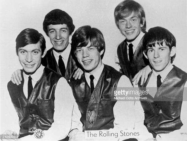 Rock and roll band The Rolling Stones pose for a very early portrait circa 1962 in London England Charlie Watts Bill Wyman Mick Jagger Brian Jones...