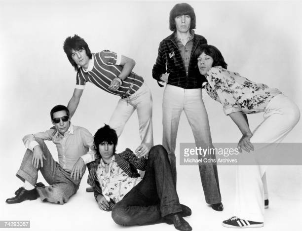 Rock and roll band 'The Rolling Stones' poses for a portrait in June 1976 Charlie Watts Keith Richards Ron Wood Bill Wyman Mick Jagger