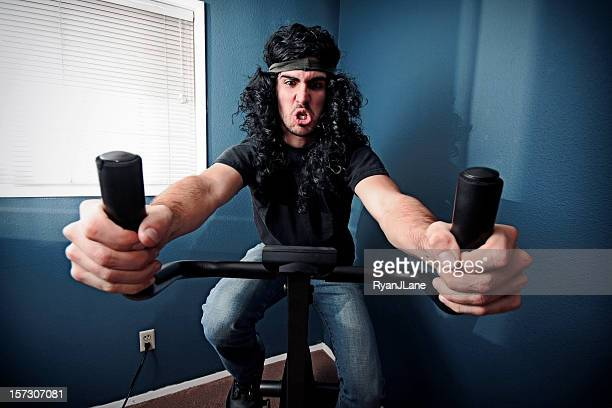 rock and roll exercise bike problems - heavy metal stock photos and pictures