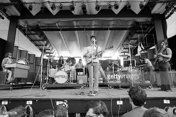 Rock and roll group Frank Zappa The Mothers Of Invention perform onstage at the Newport Jazz Festival on July 5 1969 in Newport Rhode Island