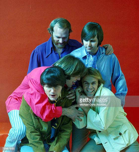 """Rock and roll group """"The Beach Boys"""" pose during a portrait session in 1968. Clockwise from top left: Mike Love, Carl Wilson, Al Jardine, Dennis..."""