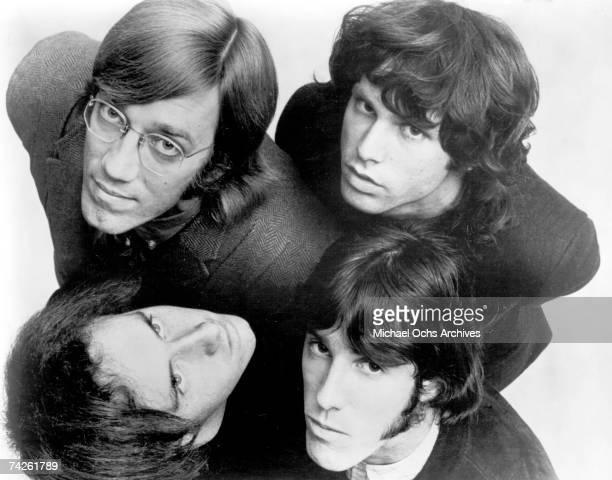 Rock and Roll group The Doors clockwise from top left Ray Manzarek Jim Morrison John Densmore and Robby Krieger pose for an Electra Records publicity...