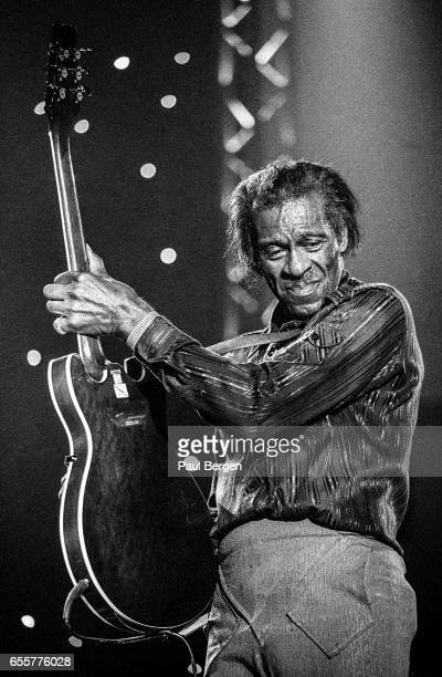 Rock and roll guitarist Chuck Berry performs on stage at North Sea Jazz Festival, The Hague, Netherlands, 14th July 1995.