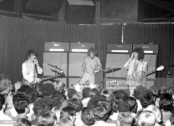 Rock and roll guitarist Eric Clapton bassist Jack Bruce and drummer Ginger Baker of the rock band Cream perform onstage at the Whisky A Go Go on...