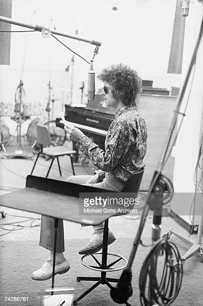 Rock and roll guitarist Eric Clapton of the rock band Cream recording the song Strange Brew at Atlantic Studios in April 1967 in New York City New...