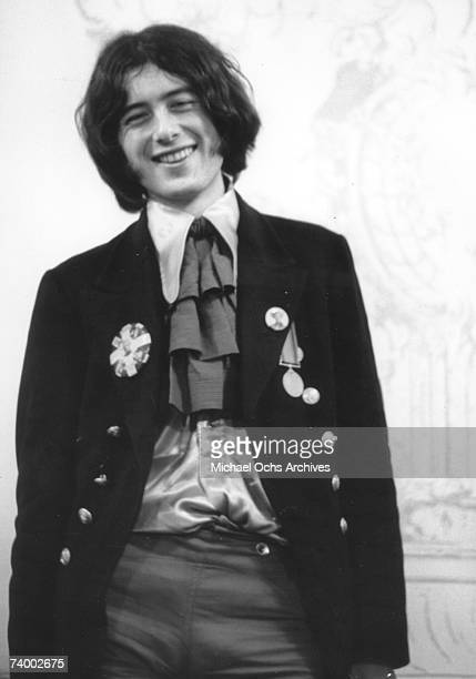 Rock and roll guitarist Jimmy Page of the rock band The Yardbirds poses for a portrait in 1967