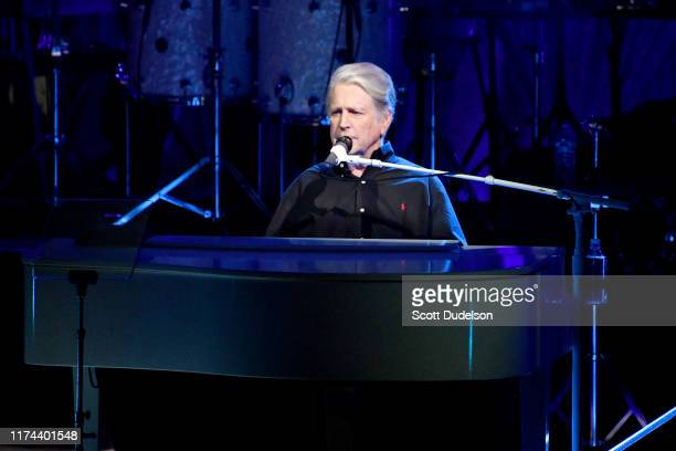 Rock and Roll Hall of Fame inductee Brian Wilson founding member of The Beach Boys performs onstage during the 'Something Great from '68 Tour' at The...