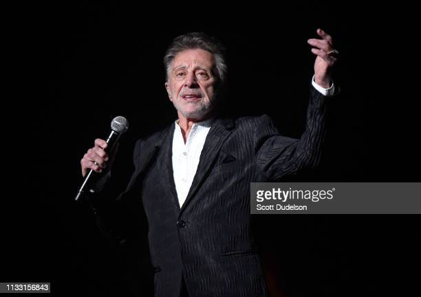 Rock and Roll Hall of Fame inductee Frankie Valli, founding member of The Four Seasons, performs onstage at Saban Theatre on March 01, 2019 in...