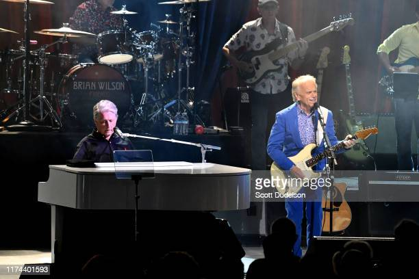 Rock and Roll Hall of Fame inductees Brian Wilson and Al Jardine founding members of The Beach Boys perform onstage during the 'Something Great from...