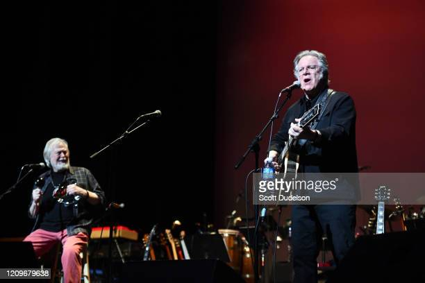 Rock and Roll Hall of Fame inductees Joe Butler and John Sebastian, founding members of The Lovin' Spoonful, perform onstage for their first show in...