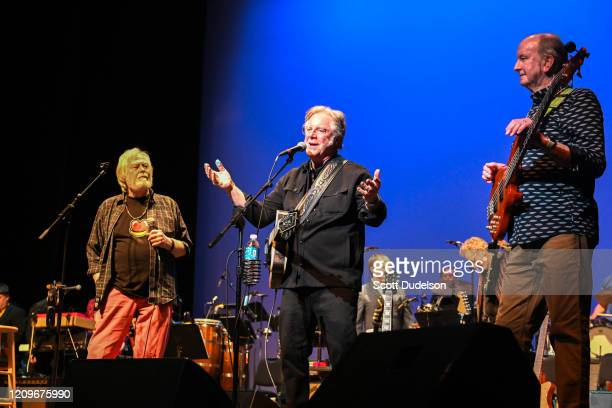 Rock and Roll Hall of Fame inductees Joe Butler John Sebastian and Steve Boone founding members of The Lovin' Spoonful perform onstage for their...