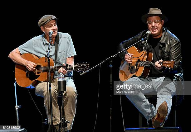 Rock and Roll Hall of Fame membebr James Taylor and Country Music Hall of Fame member Vince Gill perform onstage during All For The Hall Los Angeles...