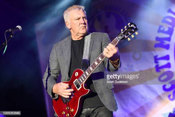 Rock and Roll Hall of Fame member Alex Lifeson founding member of the classic rock band Rush performs onstage during the Medlock Krieger All Star...