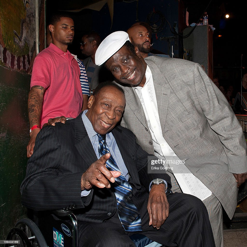 Rock and Roll Hall of Fame member Dave Bartholomew and Al 'Carnival Time' Johnson gather backstage during 'My Lil' Darlin': An HBO Treme All Star Revue' at Tipitina's on January 12, 2013 in New Orleans, Louisiana.