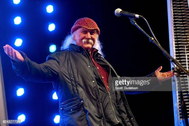 Rock and Roll Hall of Fame member David Crosby founder of The Byrds and Crosby Stills and Nash performs onstage during the One 805 Kick Ash Bash...