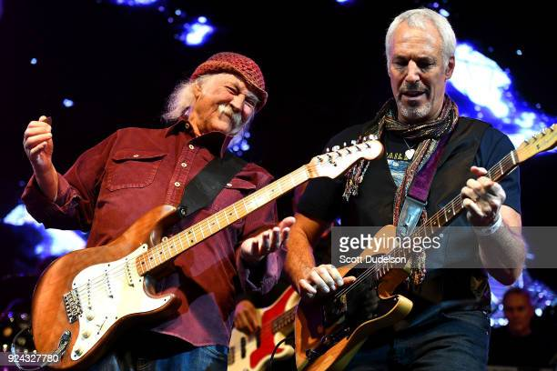 Rock and Roll Hall of Fame member David Crosby founder of The Byrds and Crosby Stills and Nash and Jeff Pevar perform onstage during the One 805 Kick...