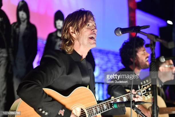 Rock and Roll Hall of Fame member Duff McKagan founding member of Guns N' Roses performs onstage during the Johnny Ramone Tribute and Screening of...