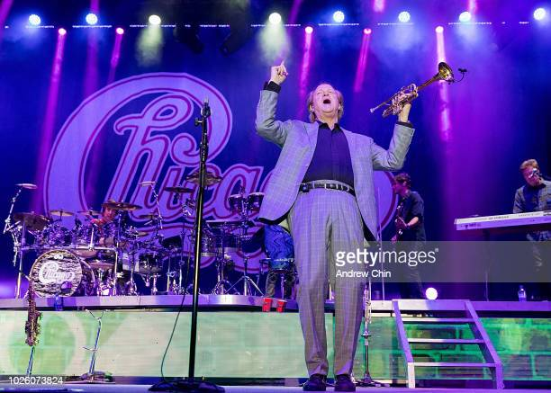 Rock and Roll Hall of Fame member Lee Loughnane founding member of the classic rock band Chicago performs on stage at PNE Amphitheatre on September 1...