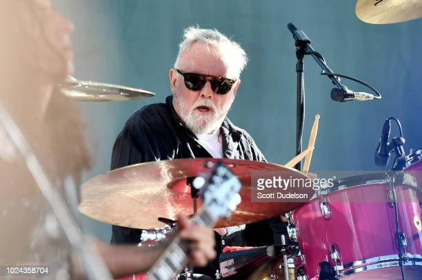 Rock and Roll Hall of Fame member Roger Taylor drummer and founding member of Queen performs onstage during the Cal Jam 18 Pop Up concert at...