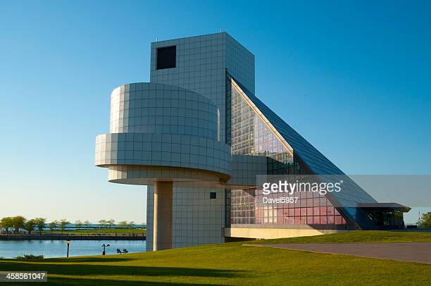 rock and roll hall of fame museum - rock and roll hall of fame cleveland stock photos and pictures