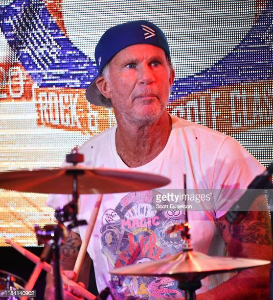 Rock and Roll Hall of Fame musician Chad Smith, drummer for Red Hot Chili Peppers, performs onstage during the 2019 Medlock Krieger All Star Concert...