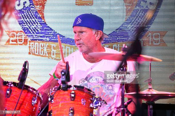 Rock and Roll Hall of Fame musician Chad Smith drummer of Red Hot Chili Peppers performs onstage during the 2019 Medlock Krieger All Star Concert...