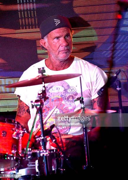 Rock and Roll Hall of Fame musician Chad Smith, drummer of Red Hot Chili Peppers, performs onstage during the 2019 Medlock Krieger All Star Concert...