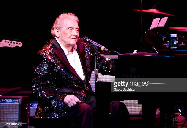Rock and Roll Hall of Fame musician Jerry Lee Lewis performs onstage at Cerritos Center for the Performing Arts on November 17 2018 in Cerritos...