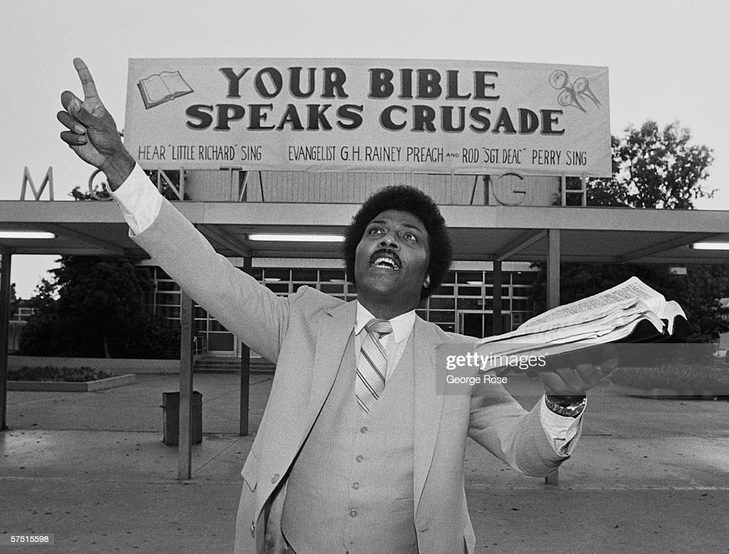 Rock and roll legend Little Richard preaches the bible during a 1981 swing through Oakland, California. Richard became a preacher briefly in the early 1980s before returning to his rock and roll roots.