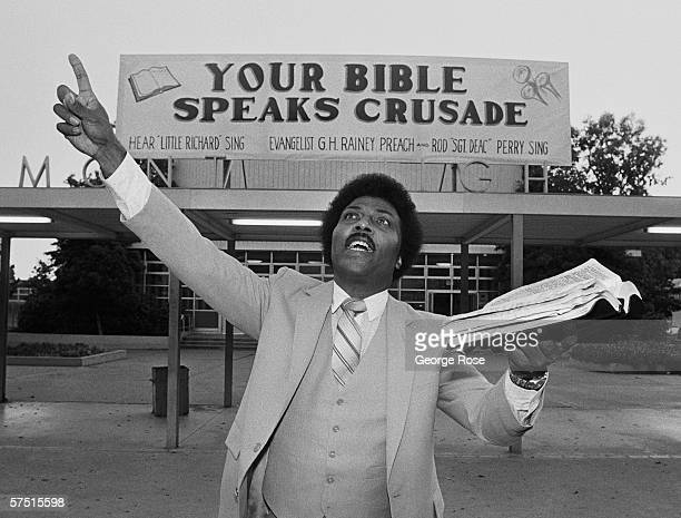 Rock and roll legend Little Richard preaches the bible during a 1981 swing through Oakland, California. Richard became a preacher briefly in the...