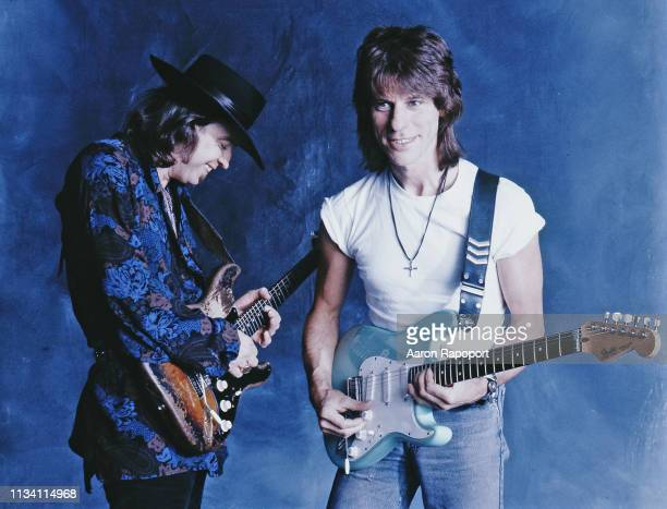 Rock and roll legends Stevie Ray Vaughn and Jeff Beck , poses for a portrait in Los Angeles, California.