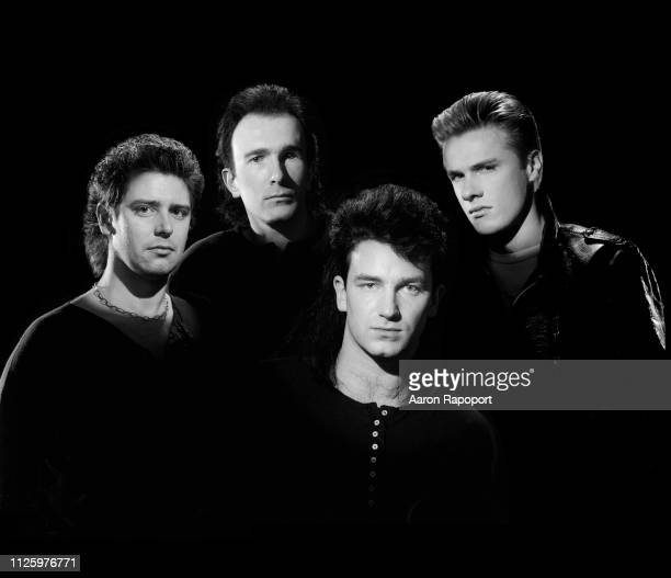 Rock and roll legends U2 Adam Clayton the Edge Bono and Larry Mullen Jr pose for a portrait in December 1984 in Los Angeles California