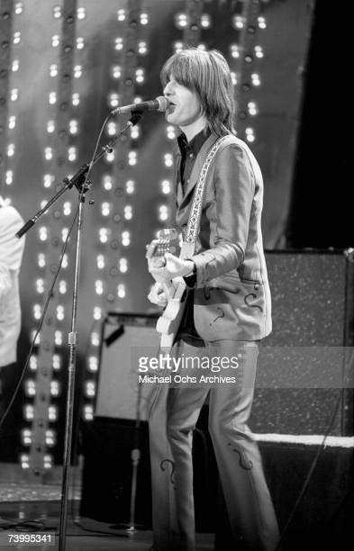 Rock and roll musican Nick Lowe performs on stage on a TV show in 1979 in Los Angeles, California.