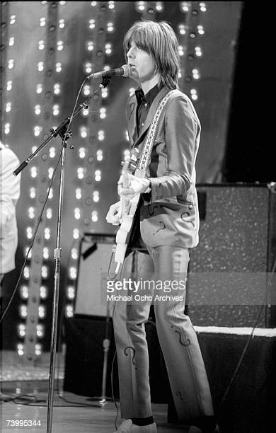 Rock and roll musican Nick Lowe performs on stage on a TV show in 1979 in Los Angeles California