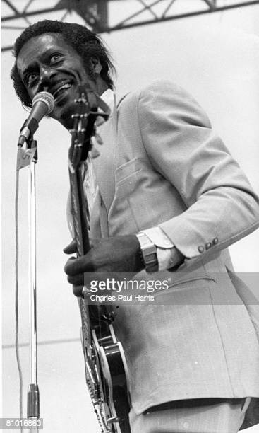 Rock and roll musician Chuck Berry performs at the Capital Radio Jazz Festival at Alexandra Palace in 1979 in London, England.