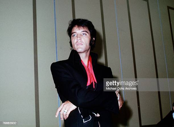 Rock and roll musician Elvis Presley during a press conference after his first performance at the International Hotel in Las vegas, Nevada on August...