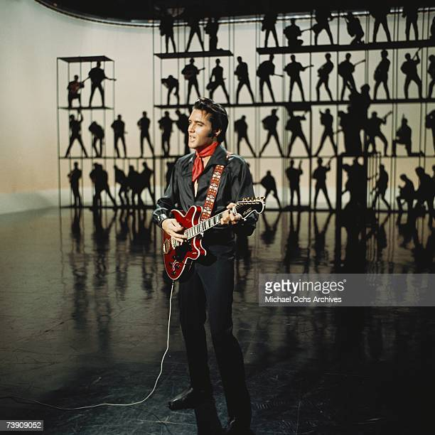 Rock and roll musician Elvis Presley performing on the Elvis comeback TV special on June 27, 1968 in Burbank, California.