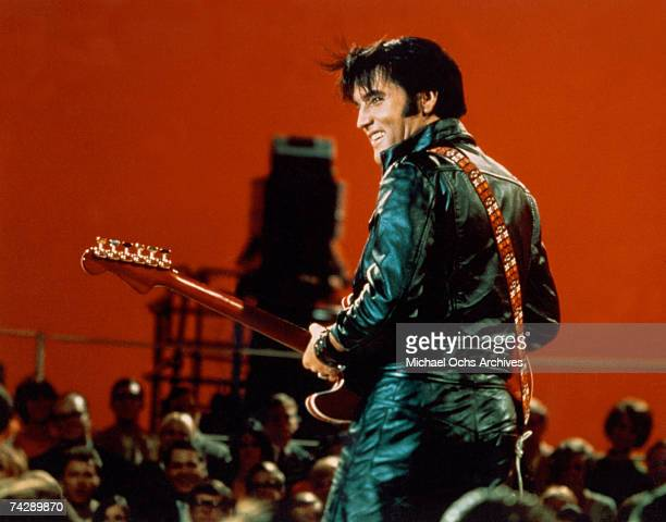 Rock and roll musician Elvis Presley performing on the Elvis comeback TV special on June 27 1968