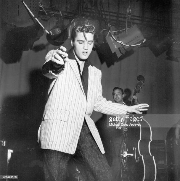 Rock and roll musician Elvis Presley performing on the Milton Berle Show in Burbank California on June 4 1956