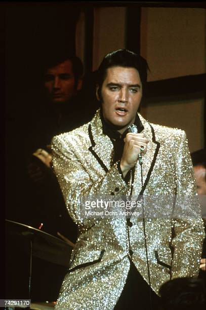 "Rock and roll musician Elvis Presley performing the song ""Trouble"" on the Elvis comeback TV special on June 27, 1968 in Burbank, California."
