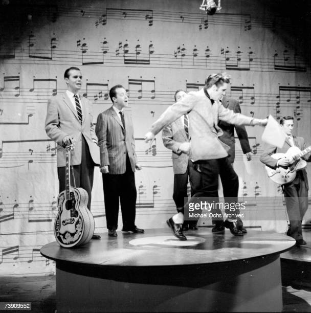 Rock and roll musician Elvis Presley performs on stage on the Ed Sullivan Show on January 6 1957 in New York City NY