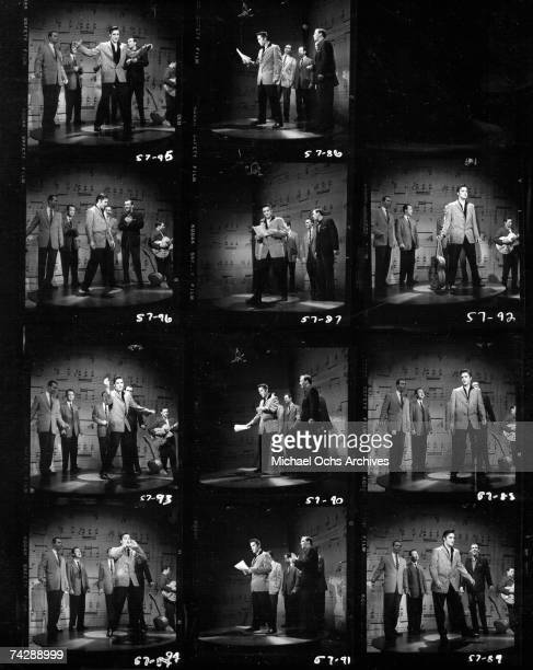Rock and roll musician Elvis Presley performs on stage on the Ed Sullivan Show on January 6 1957 in New York City NY Proof sheet