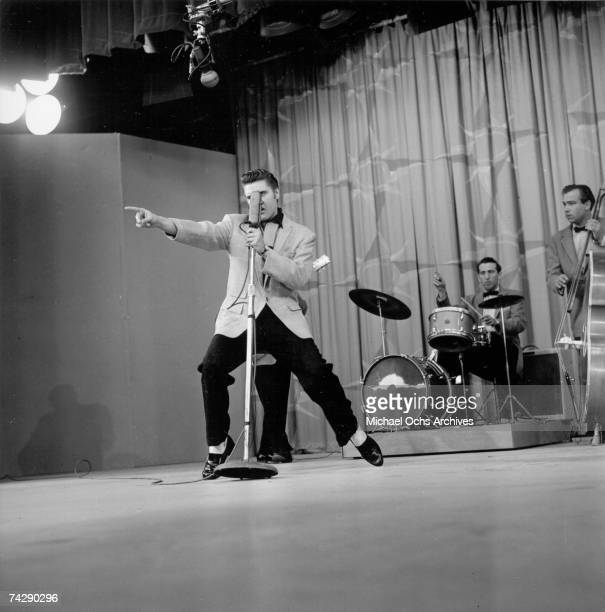 Rock and Roll musician Elvis Presley rehearsing for his performance on the Milton Berle Show on June 4 1956 in Burbank California